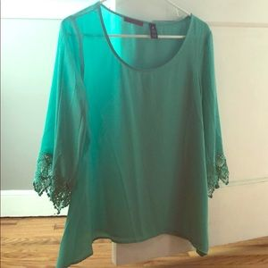 BKE Red Teal Blouse